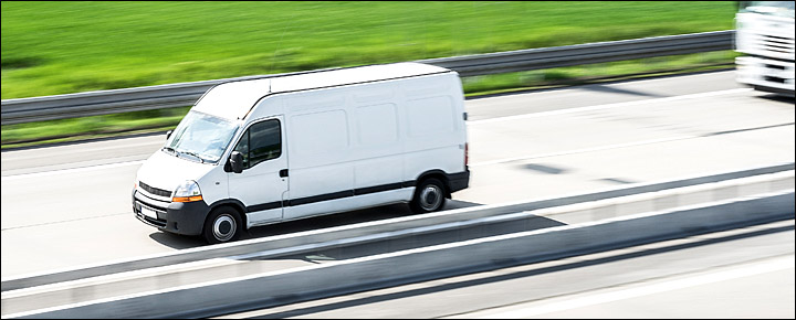 delivery van speeding along